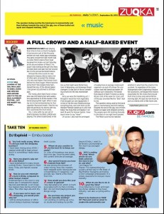 DJ Exploid featured on TAKE TEN at Zuqka Magazine by Dennis Okeyo (Friday Nation) Date: September 28th/2012